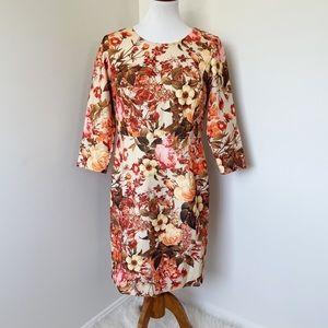 TALBOTS orange floral midi dress Size 10